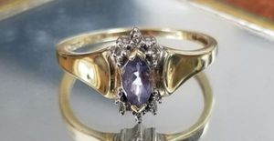 Photo Stunning Vintage Estate 10K solid yellow gold genuine blue violet tanzanite ring size 6.5