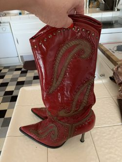 Dollhouse red stud boots Size 71/2-8 Thumbnail