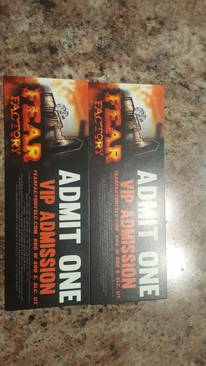 I have two Vip Tickets for FearFactory. for Sale in Woods Cross, UT