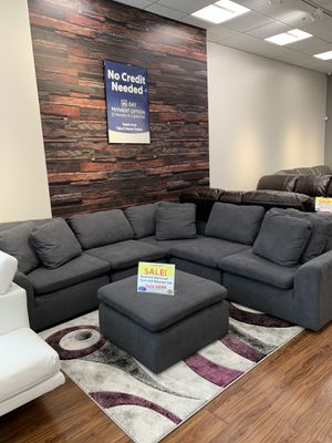 Photo Aventura 6 Piece Sectional with Ottoman! TAX TIME Sale ! Everyone gets approved $40 down financing or 699! EVERYONE GETS APPROVED! Same Day Delivery!