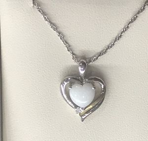 Opal and diamond heart pendant for Sale in Springfield, VA