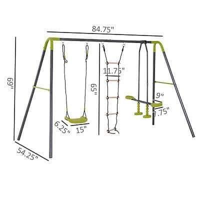 A-Frame Kids Metal Swing Set Swing Chair & Glide Set Climbing Ladder Outdoor Fun