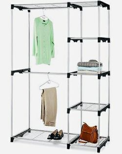 NEW 45x20x68 Inches Tall 2 Hanging Tier Bars Clothes Jackets Coat Shoe Organizer Garment Wardrobe Rack Shelf  Thumbnail