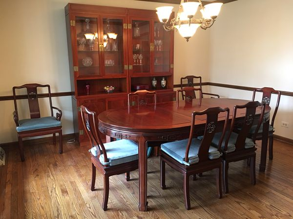 Solid Rosewood Dining Table China Cabinet