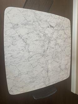 "Carson carrington 39"" solid Carrara marble table Thumbnail"