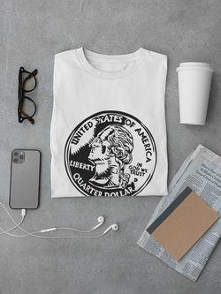 Smartprints Quarter Dollar Coin Sketch Tee Men's -Image by Shutterstock White Size 4XL Thumbnail