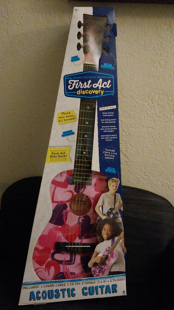 Girls Acoustic Guitar First Act Discovery Pink Hearts For Sale In