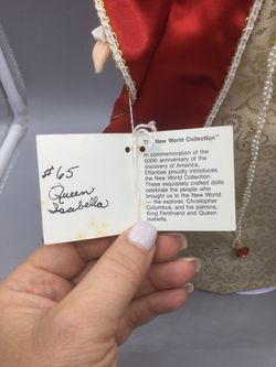 """EFFANBEE THE NEW WORLD COLLECTION QUEEN ISABELLA DOLL RETIRED Renaissance Dress.   Condition is """"Used, it has some small spots on the dress"""".  15 inch Thumbnail"""
