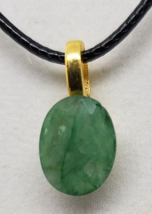 Photo Natural Oval Emerald Gold Necklace