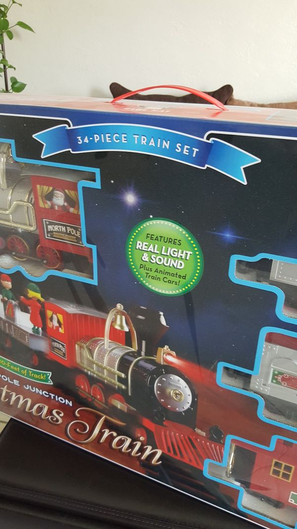 brand new north pole junction christmas train real light sound and animated train cars for sale in el paso tx offerup - North Pole Junction Christmas Train