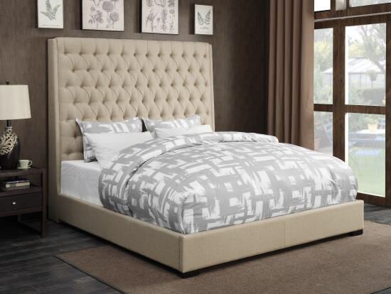 """New Natalie Linen Upholstered Bed 72""""High! Also in Gray"""