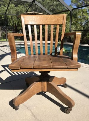Antique oak postmasters desk chair for Sale in Cape Coral, FL