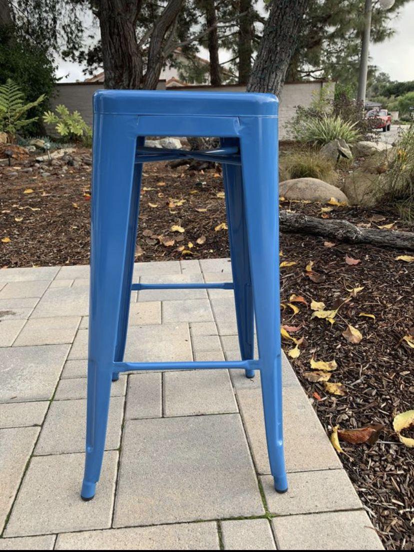 4 blue metal stools, like new!