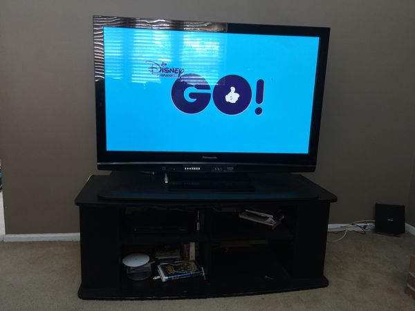50 Inch Panasonic Hdtv With Black Swivel Tv Stand For Sale In