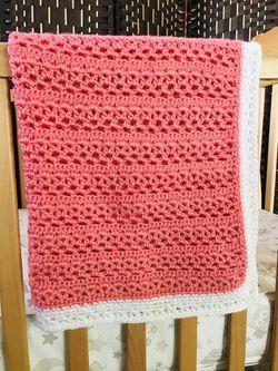 Handmade Baby Blanket Crochet In Coral Thumbnail