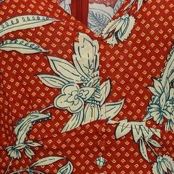 Jessica Simpson Dress Sz M Floral Print Ruffle Hem Midi Red 720702 Thumbnail
