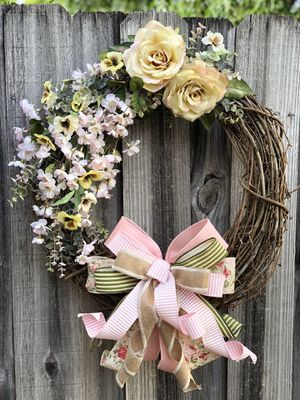 Photo Pretty as a Rose front door wreath! Pink flowers handmade bow, Mother's Day gift, everyday door hanger wreath