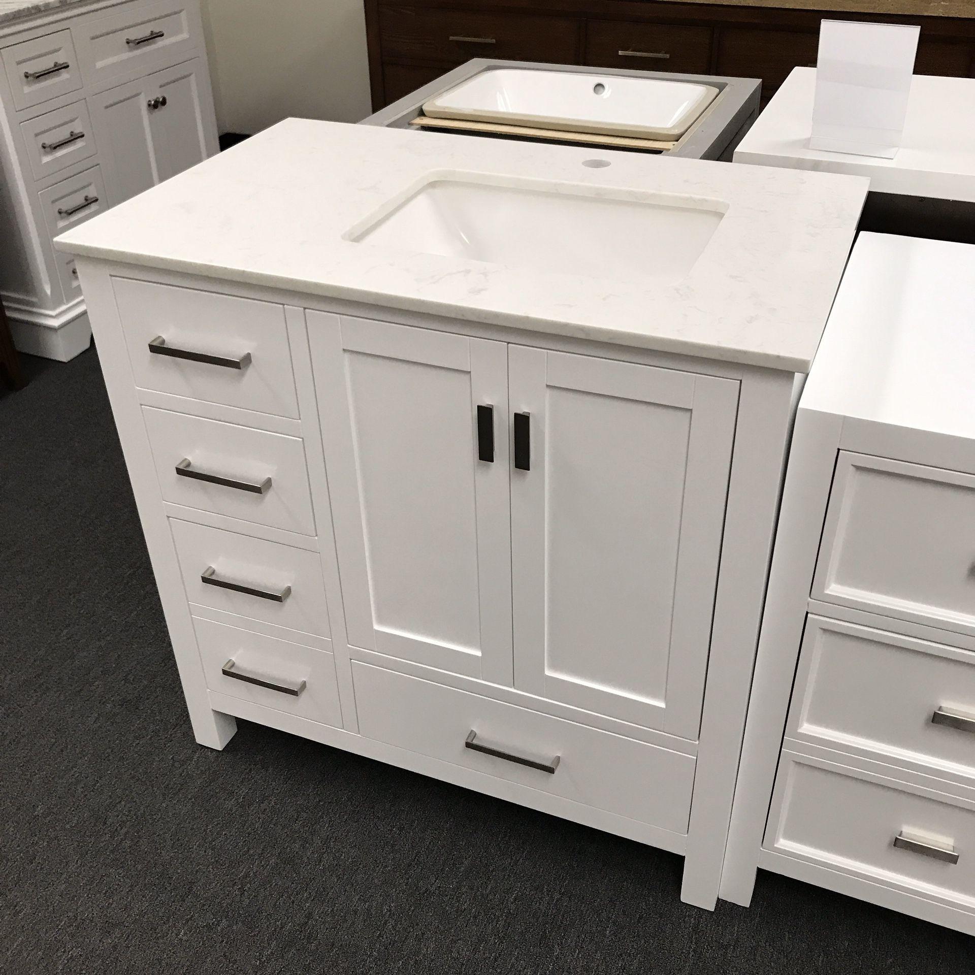 "36"" White Bathroom Vanity With Cortina Stone Top"