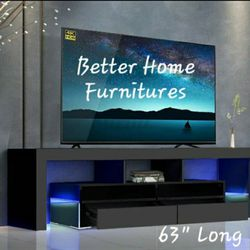 """Brand New 63"""" Tv Stand, Entertainment Stand, TV console With remote control L.E.D Lights. Thumbnail"""