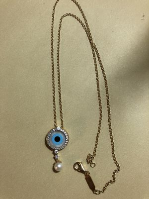 Evil eye necklace in 18k real gold real diamond and real pearl for Sale in Fairfax, VA