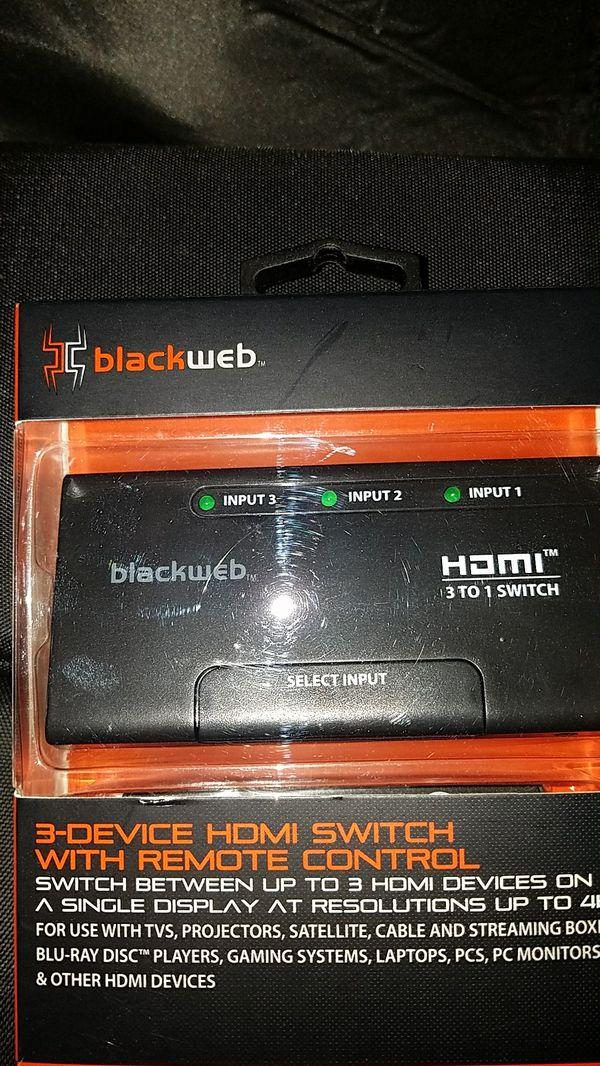 Black Web 3-Device HDMI switch w/remote for Sale in Pomona, CA - OfferUp