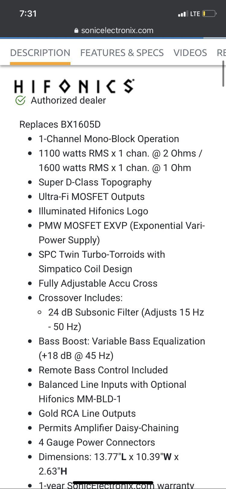 Hifonics 1600 Watt Amp