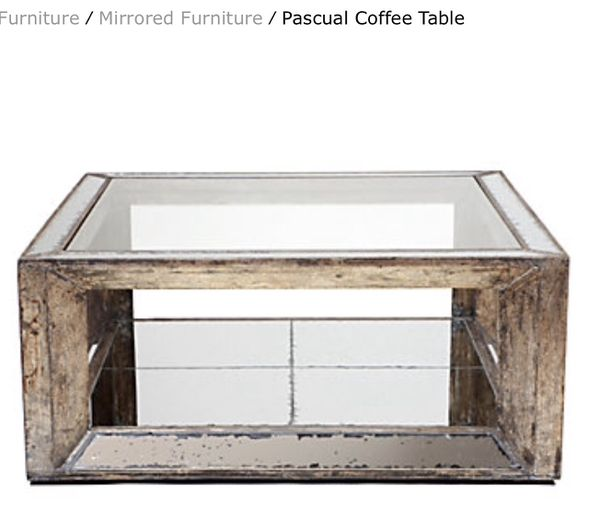 Glass And Antiqued Mirror Pascual Coffee Table By Z Gallerie For - Pascual coffee table