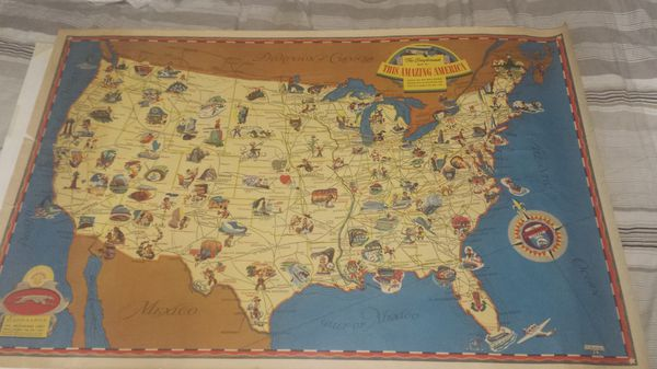 Greyhound Usa Map.1940s Map Greyhound Travel Route Usa For Sale In Rialto Ca Offerup