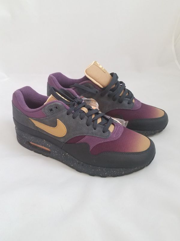 Nike Air Max 1 Premium Pro Purple Fade Athletic Shoes Anthracite Gold Sz 8.5