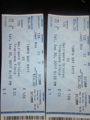 2 tickets for Rays vs Baltimore orioles for Sale in Tampa, FL
