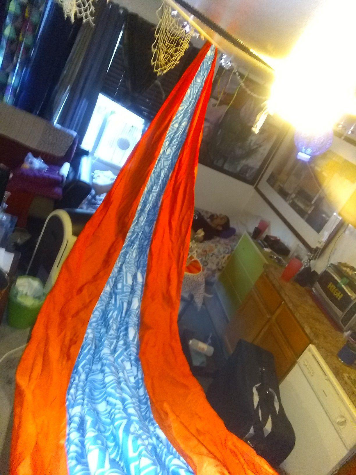 Expertly crafted nylon hammock.