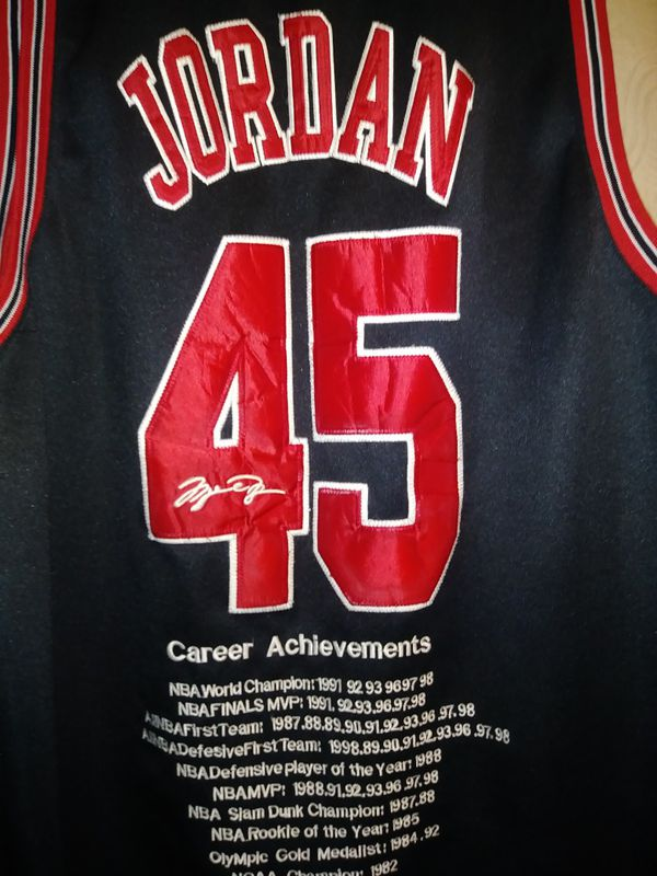 623783edb6f728 CHICAGO BULLS Micheal Jordan  45 Jersey with Career Achievements on back  Very Rare Authentic Black
