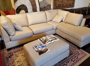 Brand New Sand Linen Sectional Sofa Couch + Ottoman for Sale in Washington, DC