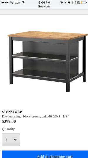 STENSTORP Kitchen island, black-brown, oak for Sale in ...