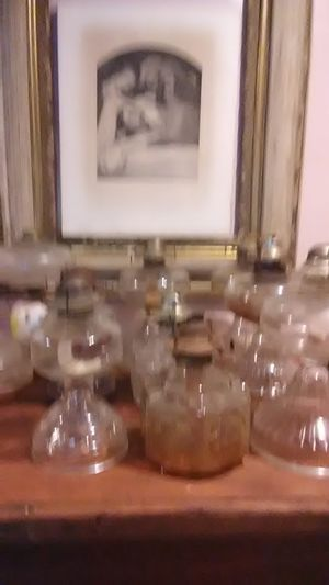 Collection of Antique Oil Lamps $15 each or deal for Collection. All have hurricane glass chimneys. In Petworth for Sale in Washington, DC