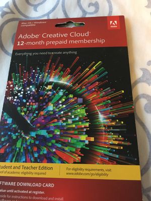 ADOBE CREATIVE CLOUD 12 month subs. for Sale in South Salt Lake, UT