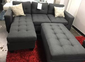 Brand New Grey Linen Sectional Sofa Couch + Ottoman for Sale in Falls Church, VA