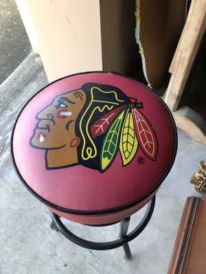 "Photo Chicago Blackhawks Stool 16"" d x 39.5"" seat 14.5 across Leather and design in great shape Black metal From smoke free and pet free environment"