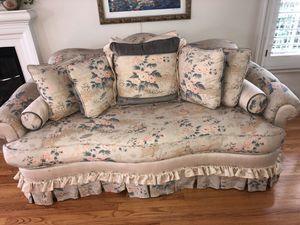 Beautiful linen pacer designer sofa upholstered, in a Asian print soft blues and pinks beige linen , reversible seats in soft green and pillows to ch for Sale in Los Angeles, CA