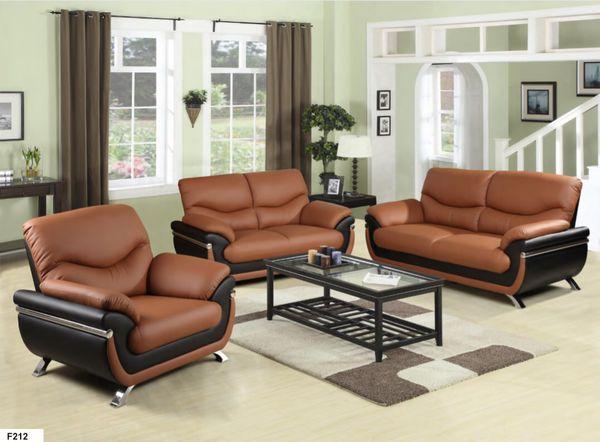 New Black Orange Faux Leather Three Piece Sofa Set