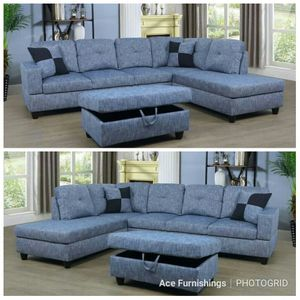 Brand New Light Blue Linen Sectional With Storage Ottoman & Tax Free for Sale in Federal Way, WA