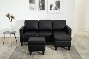 Brand new black faux leather sectional sofa with for Sale in Silver Spring, MD