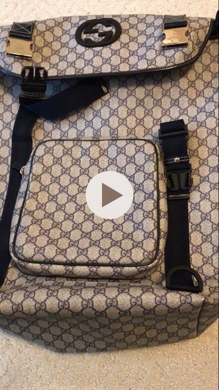 2634df9b4a46 Gucci supreme interlocking double G backpack NAVY blue/tan (rare ...