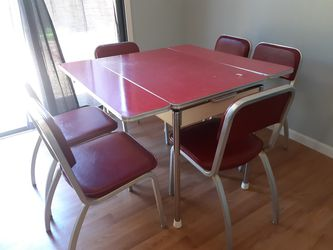 Vintage Retro Early 50s Mid Century Fomica Dining Table 6 Chairs MCM Thumbnail