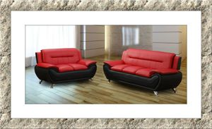 Red/black 2pc set sofa and loveseat free delivery for Sale in McLean, VA