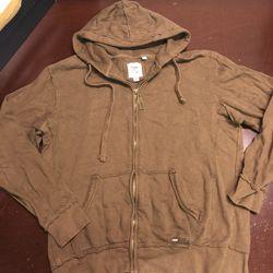 $88 Paper Denim & Cloth Distressed Brown Jacket Hoodie | L | Zip Men's Vintage Thumbnail