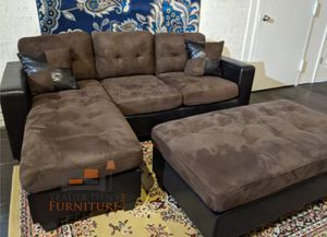 Brand new brown microfiber sectional sofa with ottoman for Sale in Kensington, MD
