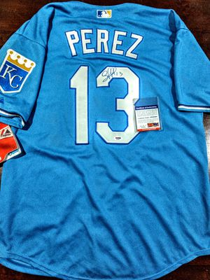 Certified & signed Salvador Perez Jersey. Serial #d. Verified onIine. New for Sale in Kansas City, MO