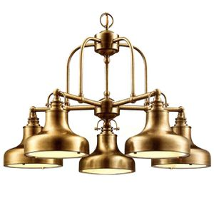 Photo [New-in-Box] Pair (2) of Discontinued Hampton Bay Antique Brass 5 Light Chandeliers