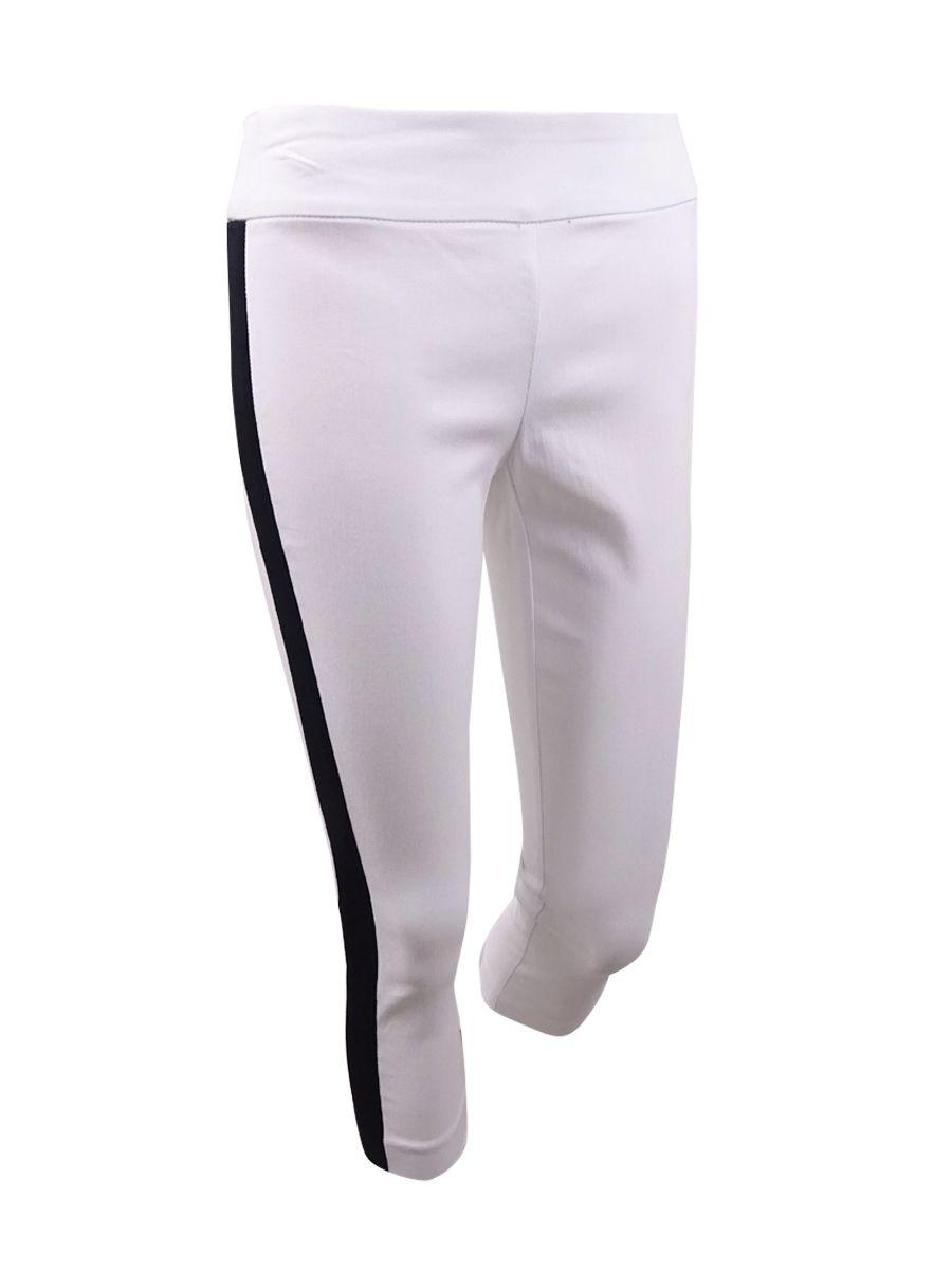 INC International Concepts Women's Plus Side-Stripe Skinny Pants (24W, White)